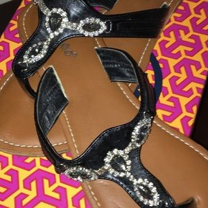 MAKE OFFER‼️SPARKLY Bamboo flat leather sandals✨🌟